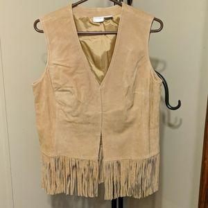 Ladies Suede Leather Fringed Vest